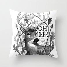 Oh Deer B&W Throw Pillow