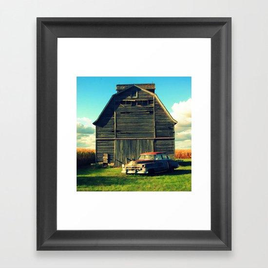 1950 Cadillac & Barn Framed Art Print