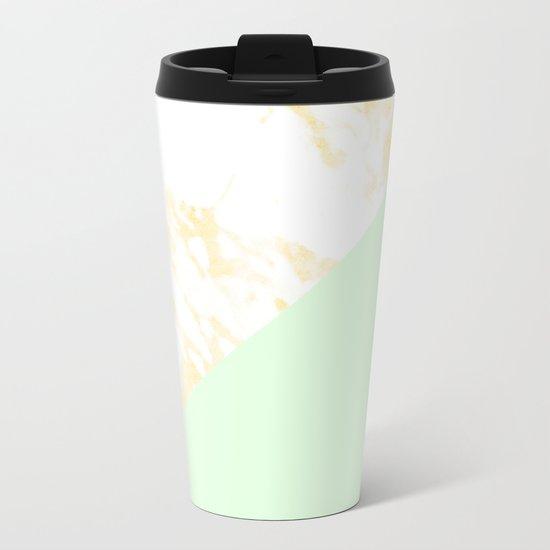 White Marble Pastel Orange and Light Green Geometric Metal Travel Mug