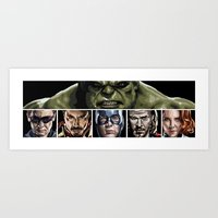 avenger Art Prints featuring Avenger Assemble by Robert Bruno Illustration