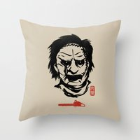 butcher billy Throw Pillows featuring Butcher by Pigboom Art