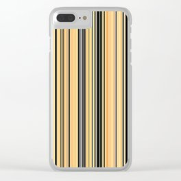 High Society Vintage Yellow Black White Stripes 001 Clear iPhone Case
