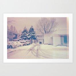 Akita winter Art Print