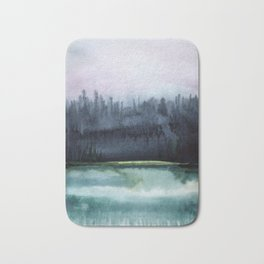 Watercolor blue sea on a background of thunderclouds Bath Mat