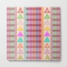 Cute stripes and Triangles Metal Print