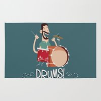 drums Area & Throw Rugs featuring Drums! by soy8bit