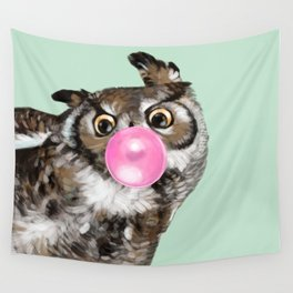 Sneaky Owl Blowing Bubble Gum Wall Tapestry