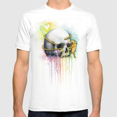Jake the Dog and Skull Mens Fitted Tee White MEDIUM