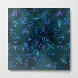 Alchemy Symbols Pattern Metal Print