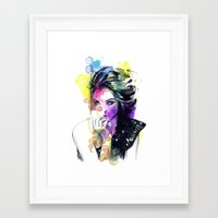 tye dye Framed Art Prints featuring Milla fashion portrait girl watercolor tye and dye face by Jessica Trouy