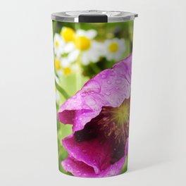 Purple Poppy in the Rain Travel Mug