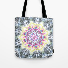 Pink and Yellow Mandala Swirl Tote Bag