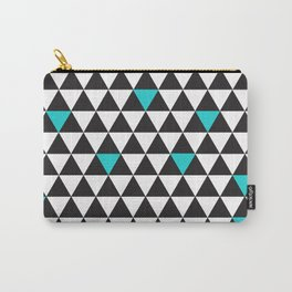 Black White Teal Turquoise Geometric Triangles Carry-All Pouch