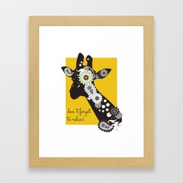 Funky Cool Funny Giraffe Yellow Framed Art Print