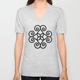 Black Geometric Swirl Unisex V-Neck