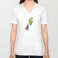 parrot V-neck T-shirts featuring Parrot by Juliana Motzko