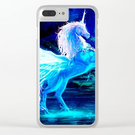 Unicorn Forest Stars Cristal Blue Clear iPhone Case