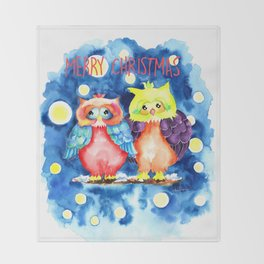 Two owls and a starry night Throw Blanket
