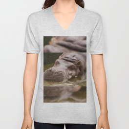 Huge bored Hippopotamus Unisex V-Neck