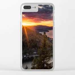 Mineral Ridge Sunset on Lake Coeur d'Alene Clear iPhone Case