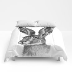 Cute Hare portrait G126 Comforters