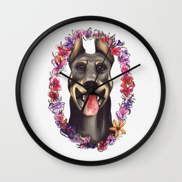 Doberman Portrait Wall Clock
