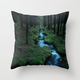 Moody Forest Throw Pillow