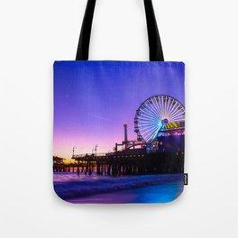 Santa Monica purple sunset Tote Bag