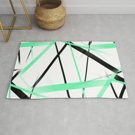 Criss Crossed Mint Green and Black Stripes on White Rug