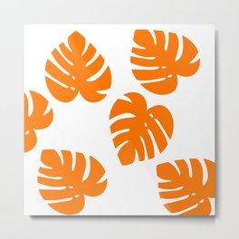 Orange Palm Metal Print