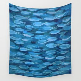 Shimmer Shoal in Blue Wall Tapestry