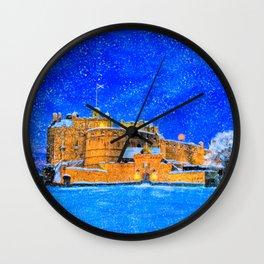 Edinburgh Castle In The Snow On A Winter Night Wall Clock