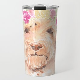 golden doodle watercolor Travel Mug