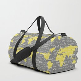Hello World Languages Gray and Yellow Duffle Bag