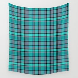 Teal Plaid Wall Tapestry