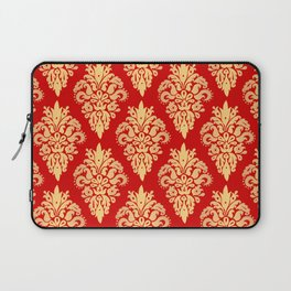 Red and Gold Classic Damask Pattern Laptop Sleeve