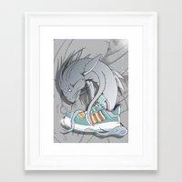 sneaker Framed Art Prints featuring Sneaker Monster by Hexstatic