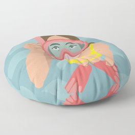 Scuba Girl Floor Pillow