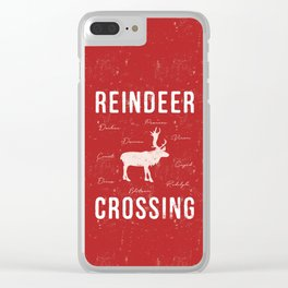 Reindeer Crossing - Red Clear iPhone Case