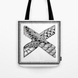 Zentangle X Monogram Alphabet Initial Tote Bag