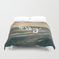 scripture Duvet Covers featuring NEW DAY by Pocket Fuel