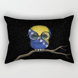Baby Owl with Glasses and Bosnian Flag Rectangular Pillow