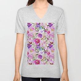 Elegant blush pink violet lavender watercolor summer floral Unisex V-Neck