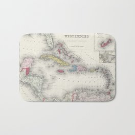 Vintage Map of The Caribbean (1865) Bath Mat