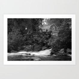River and Church Black & White Landscape Rural Photograph Art Print
