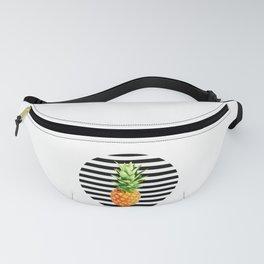 Pineapple, black stripes, kitchen poster, garden poster, rounded Fanny Pack
