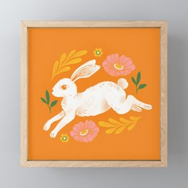 Jumping Rabbit and Flowers Framed Mini Art Print