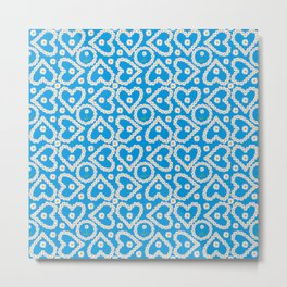 Daisy Chain Hearts and Circles on Turquoise Blue Metal Print