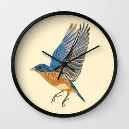 Country Bluebird Pattern Wall Clock