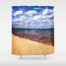 Beach Under Blue Skies Shower Curtain